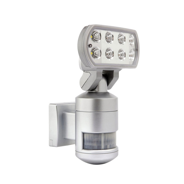 Brilliant Nightwatcher 8w 4200K LED Flood & Tracking Sensor Silver