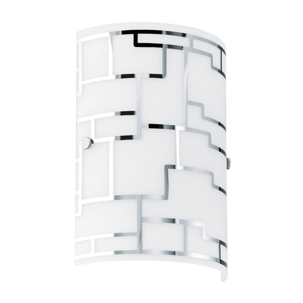 Eglo Bayman Frost & Chrome Pattern Glass Wall Light