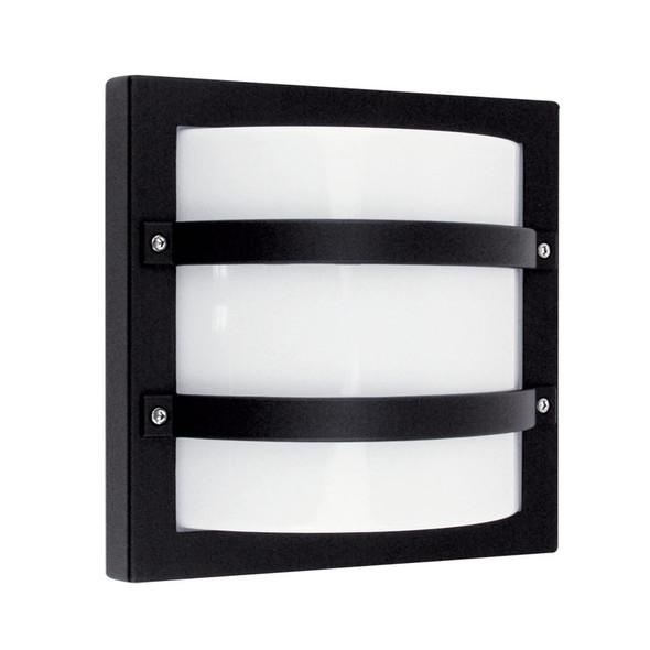 Oriel Largo Square Aluminium Exterior Wall Light Black