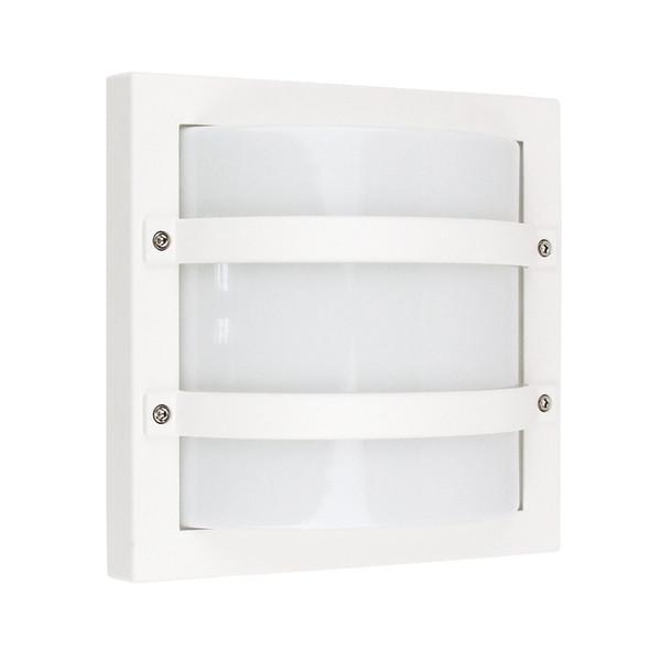 Oriel Largo Square Aluminium Exterior Wall Light White