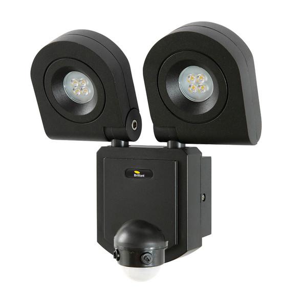 Brilliant Arcolux 2 X 10w LED Exterior Spotlight & Sensor Black