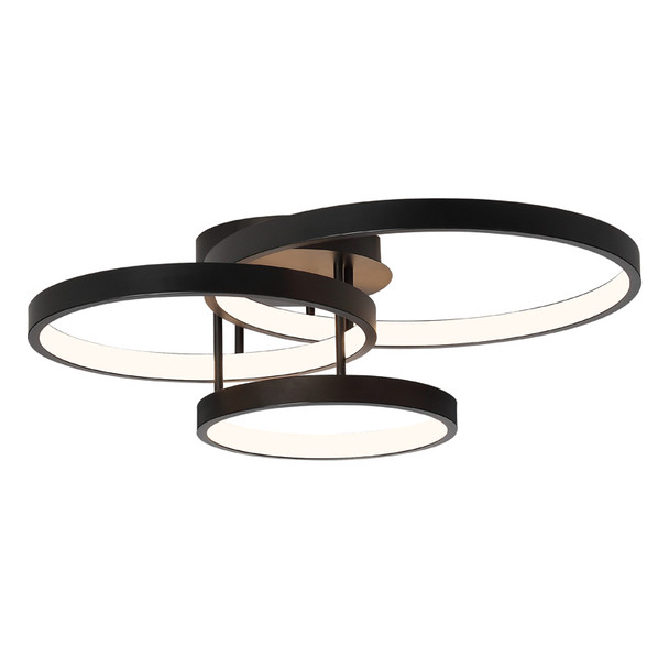 Cougar Zola 84w 3 Ring LED Close To Ceiling Light Black