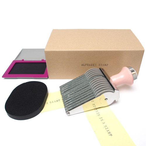 Alphabet Rolling Stamp Package Set Including Ink Pad and Cleaner(Steady Purple)