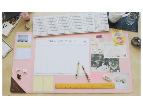 Vintage desk pad wide (pink)