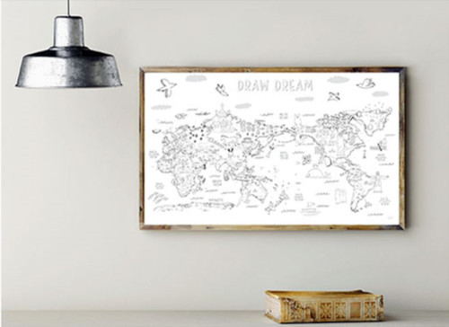 Drawing World Map with 12 coloring pencils(Shipping for only US)