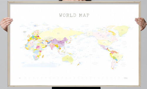Watercolor World Map with 12 coloring pencils(Shipping for only US)