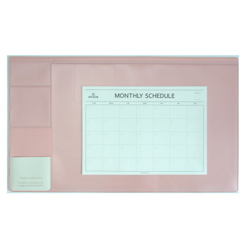 There`s Desk Mat with Monthly Schedulers(Baby pink)