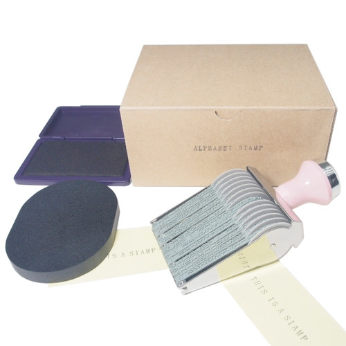Alphabet Rolling Stamp Package Set Including Ink Pad and Cleaner(Purple)