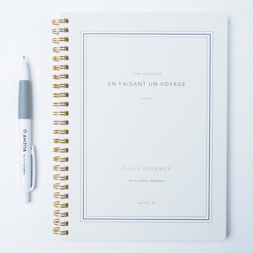 Time Schedule Daily Planner with AHZOA Pencil (Pale green)