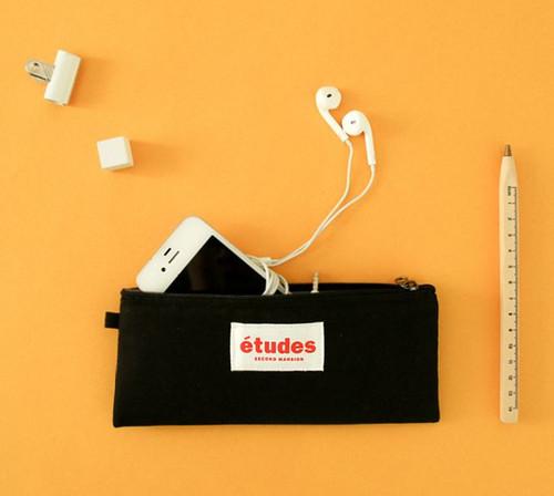 Etudes Flat Pencil Pouch(Black)