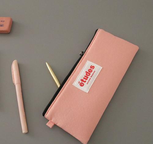 Etudes Flat Pencil Pouch(Pink)