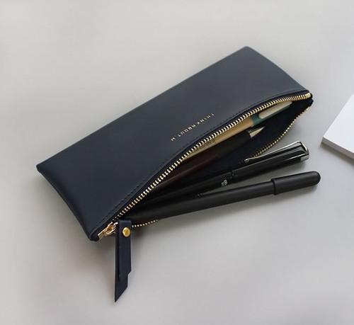 Line Flat Pencil Case(Black)