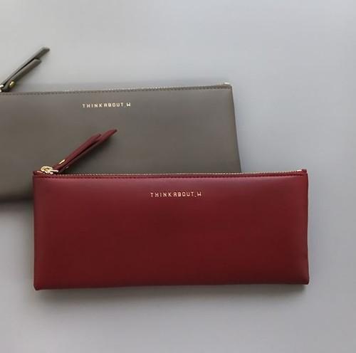 Line Flat Pencil Case(Burgundy)