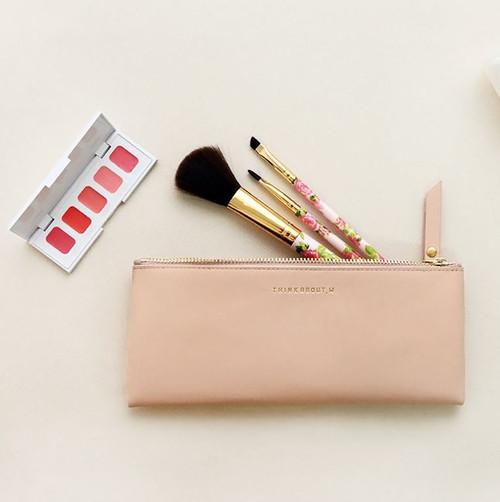 Line Flat Pencil Case(Pink)