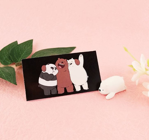 Desk Top Figure Business Card Holder Baby Ice Bear