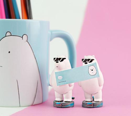 Desk Top Figure Memo Board Ice Bear