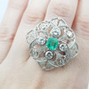 *NEW* 18CT ART DECO STYLE EMERALD & 1.8CT TDW DIAMOND COCKTAIL RING VAL $14990