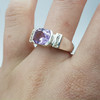 *New* Sterling Silver Amethyst & CZ Ring Size N #54766