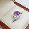 *New* Sterling Silver Amethyst & CZ Ring Size N #54777