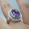 *New* Sterling Silver Amethyst CZ Cocktail Ring Size P #54803