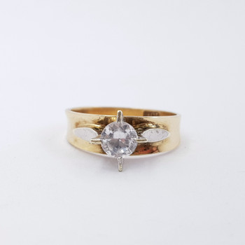 9ct Two Tone Gold CZ Solitaire Ring Size L #55333