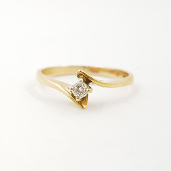 18ct Yellow Gold Diamond Solitaire Ring Size L #55325