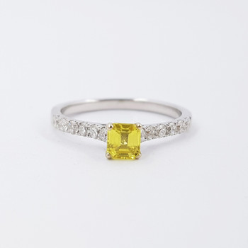 18ct White Gold Yellow Sapphire & Diamond Engagement Ring Size M1/2 Val $3250