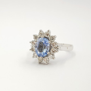 18ct White Gold Ceylonese Type Pale Blue Sapphire & Diamond Halo Ring Val $9100 Size N3/4 #54481
