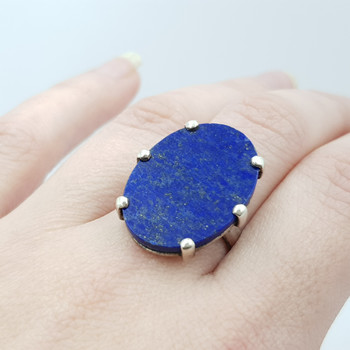 Sterling Silver Oval Lapis Lazuli Dress Ring Size Q #55624