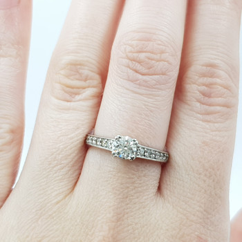 18ct White Gold 0.75ct TW Diamond Engagement Ring Val $6400 Size O #53260