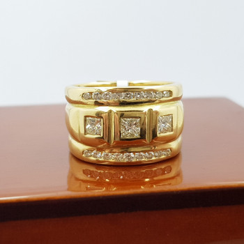 18ct 15.4gr Yellow Gold 0.75ct TW Diamond Ring Band Size N Val $6500 #55656
