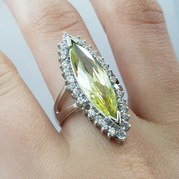 *New* Sterling Silver Green Stone Marquise Ring Size M #54729