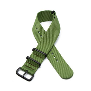 Nylon Military Style Watch Strap - Army Green with Black Buckle