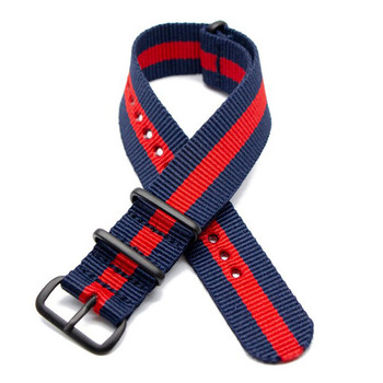 Nylon Military Style Watch Strap - Blue & Red + Black Buckle