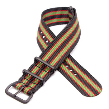 Nylon Military Style Watch Strap / Band- Black Red & Green + Black Buckle