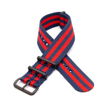 NYLON MILITARY STYLE WATCH STRAP - BLUE & RED DOUBLE STRIPE WITH BLACK BUCKLE