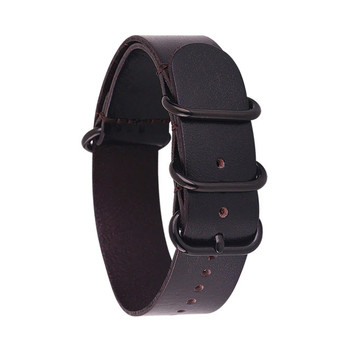 Leather Military Style Watch Strap / Band - Very Dark Brown with Black Buckle