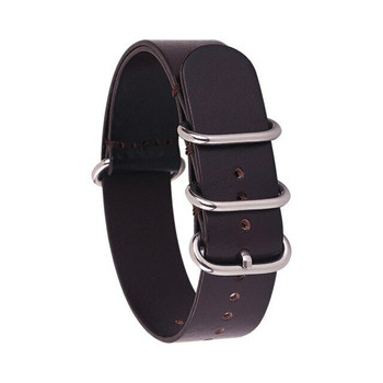 LEATHER MILITARY STYLE WATCH STRAP - VERY DARK BROWN WITH STAINLESS STEEL BUCKLE