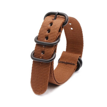 Nylon Military Style Watch Strap / Band - Brown with Black Buckle