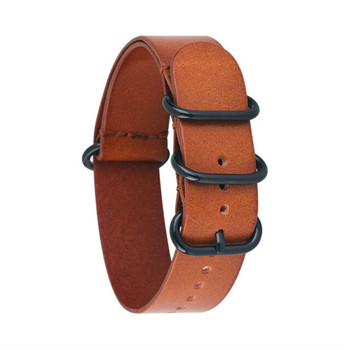 Leather Military Style Watch Strap / Band- Light Brown + Black Buckle