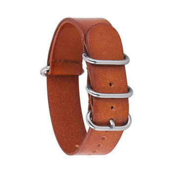 LEATHER WATCH STRAP - LIGHT BROWN WITH SILVER BUCKLE