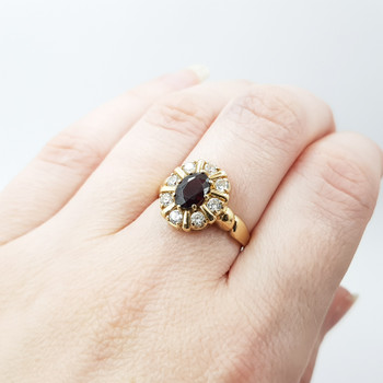 9ct Yellow Gold Garnet & CZ Halo Cocktail Ring Size N #54349