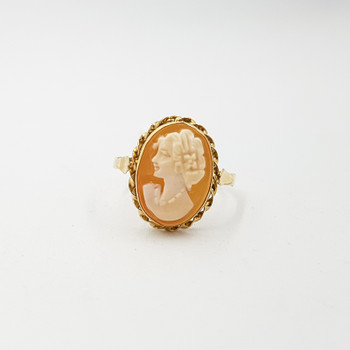 Vintage 14ct Yellow Gold Cameo Ring Size P #55410