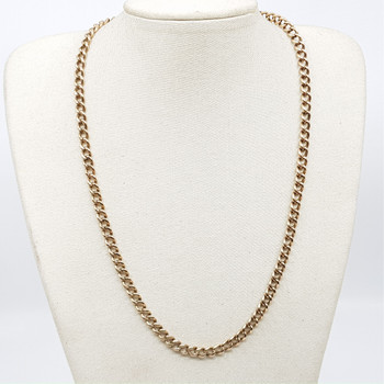 Vintage 9ct Rose Gold Fob Chain Necklace (Each Link Hallmarked) 46cm #49600