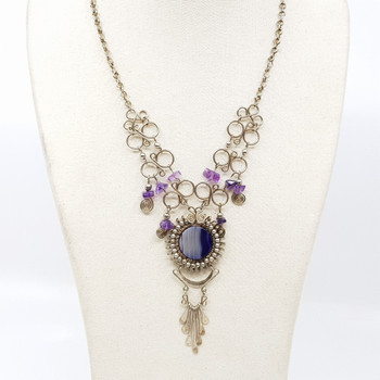 Silver Purple Agate & Amethyst Bead Necklace #54136
