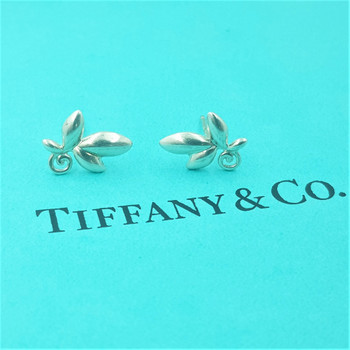 Tiffany & Co Paloma Picasso Olive Leaf Sterling Silver Earrings RRP $420 #54555