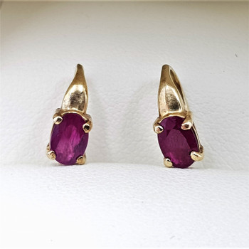 9CT Yellow Gold Natural Ruby Drop Earrings #55493