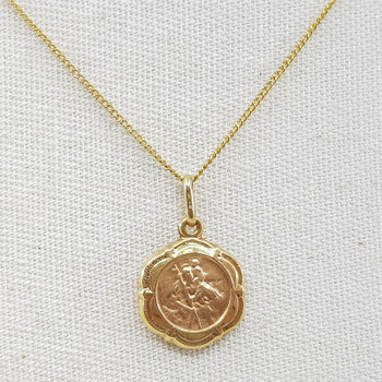 9ct St Christopher Pendant & Yellow Gold Chain Necklace 45cm 375 #54444