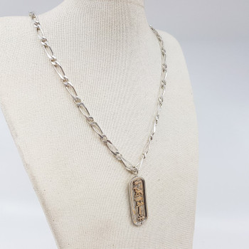 Sterling Silver Egyptian Hieroglyphic Pendant & Chain Necklace #55263