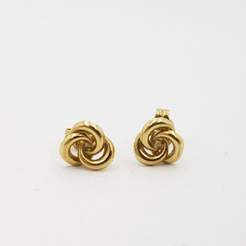 9ct Yellow Gold Knot Stud Earrings 375 #55496